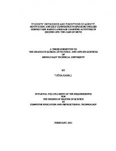 A THESIS SUBMITTED TO THE GRADUATE SCHOOL OF NATURAL AND APPLIED SCIENCES OF MIDDLE EAST TECHNICAL UNIVERSITY TUĞBA KAMALI