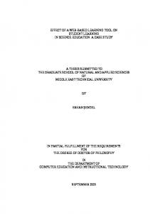 A THESIS SUBMITTED TO THE GRADUATE SCHOOL OF NATURAL AND APPLIED SCIENCES OF MIDDLE EAST TECHNICAL UNIVERSITY ERHAN ŞENGEL