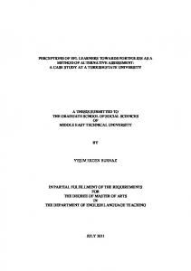 A THESIS SUBMITTED TO THE GRADUATE SCHOOL OF SOCIAL SCIENCES OF MIDDLE EAST TECHNICAL UNIVERSITY. YEġĠM ERDEN BURNAZ