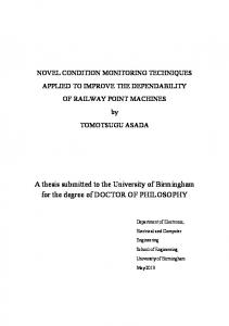 A thesis submitted to the University of Birmingham for the degree of DOCTOR OF PHILOSOPHY