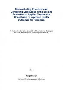 A thesis submitted to the University of Manchester for the degree of Doctor of Philosophy in the Faculty of Humanities