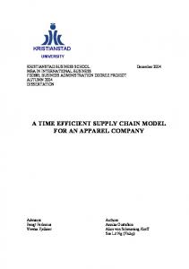 A TIME EFFICIENT SUPPLY CHAIN MODEL FOR AN APPAREL COMPANY