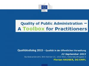 A Toolbox for Practitioners