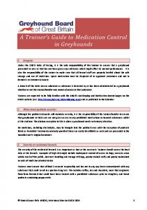 A Trainer s Guide to Medication Control in Greyhounds
