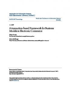 A transaction-based Framework for Business Models in Electronic Commerce