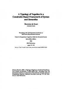 A Typology of Negation in a Constraint-Based Framework of Syntax and Semantics