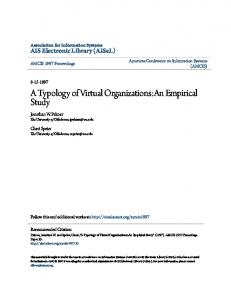 A Typology of Virtual Organizations:An Empirical Study