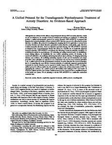 A Unified Protocol for the Transdiagnostic Psychodynamic Treatment of Anxiety Disorders: An Evidence-Based Approach