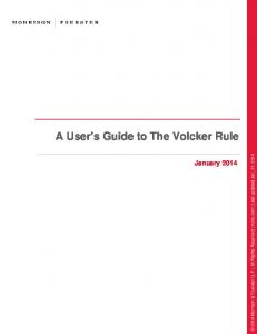 A User s Guide to The Volcker Rule. January 2014