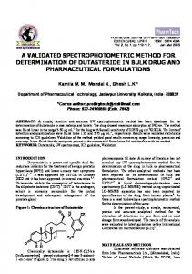 A VALIDATED SPECTROPHOTOMETRIC METHOD FOR DETERMINATION OF DUTASTERIDE IN BULK DRUG AND PHARMACEUTICAL FORMULATIONS
