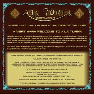 A VERY WARM WELCOME TO A'LA TURKA