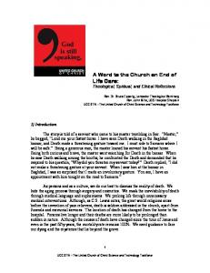 A Word to the Church on End of Life Care: Theological, Spiritual, and Ethical Reflections