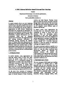 A XML Schema Definition based Universal User Interface