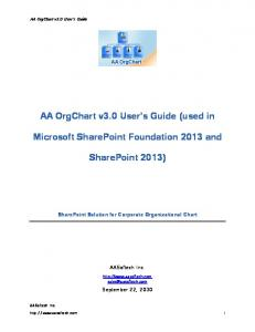 AA OrgChart v3.0 User s Guide (used in Microsoft SharePoint Foundation 2013 and SharePoint 2013)