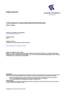 Aalborg Universitet. A Novel Approach to Assess Opioid-Induced Bowel Dysfunction Nilsson, Matias