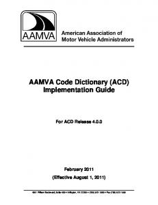 AAMVA Code Dictionary (ACD) Implementation Guide