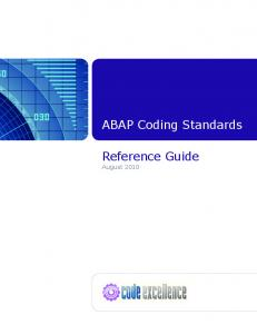 ABAP Coding Standards. Reference Guide August 2010