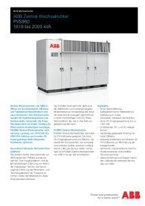 ABB Zentral-Wechselrichter PVS bis 2000 kva