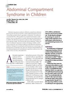 Abdominal Compartment Syndrome in Children