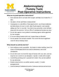 Abdominoplasty (Tummy Tuck) Post-Operative Instructions