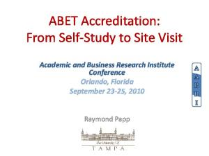 ABET Accreditation: From Self-Study to Site Visit