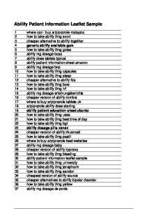 Abilify Patient Information Leaflet Sample