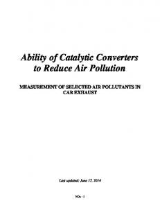 Ability of Catalytic Converters to Reduce Air Pollution