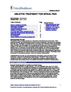 ABLATIVE TREATMENT FOR SPINAL PAIN
