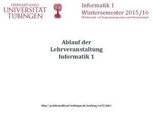 Ablauf der Lehrveranstaltung Informatik 1