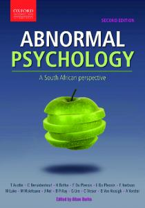 AbnormAl Psychology. A South African perspective. second edition