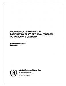 ABOLITION OF DEATH PENALTY: RATIFICATION OF 2 nd OPTIONAL PROTOCOL TO THE ICCPR & CAMBODIA