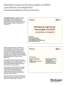Abordaje de urgencia de hemorragias con NACO: necesitamos un antagonista?
