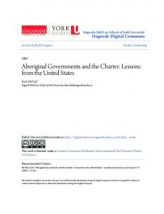 Aboriginal Governments and the Charter: Lessons from the United States