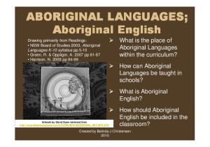 ABORIGINAL LANGUAGES; Aboriginal English