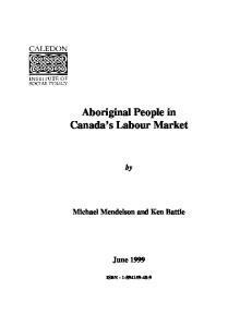 Aboriginal People in Canada s Labour Market