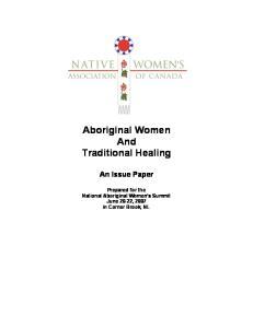 Aboriginal Women And Traditional Healing