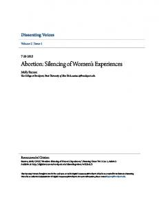 Abortion: Silencing of Women s Experiences