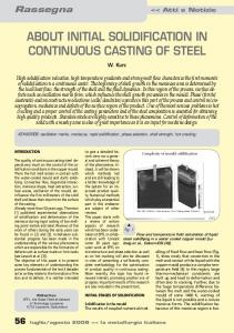 ABOUT INITIAL SOLIDIFICATION IN CONTINUOUS CASTING OF STEEL