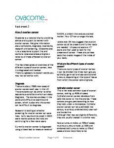 About ovarian cancer Page 1 of 6 Ovacome