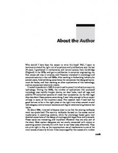 About the Author. xxxiii