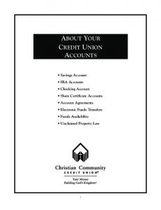 ABOUT YOUR CREDIT UNION ACCOUNTS