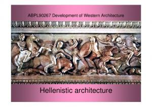 ABPL90267 Development of Western Architecture. Hellenistic architecture