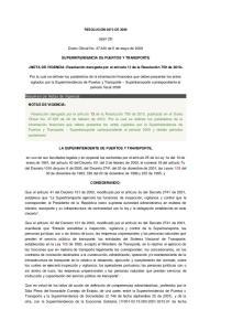 (abril 29) Diario Oficial No de 5 de mayo de 2009 SUPERINTENDENCIA DE PUERTOS Y TRANSPORTE