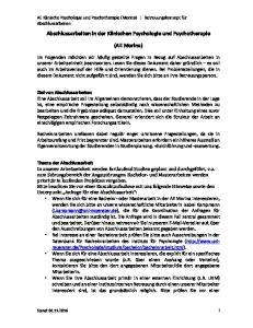 Abschlussarbeiten in der Klinischen Psychologie und Psychotherapie. (AE Morina)