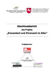 Abschlussbericht. Einsamkeit und Ehrenamt im Alter