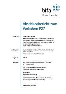 Abschlussbericht zum Vorhaben P27