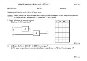 Abschlussklausur Informatik, SS 2012