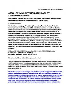 ABSOLUTE IMMUNITY NON-APPLICABILITY A. BASIS FOR ABSOLUTE IMMUNITY: