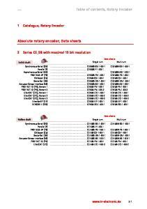 Absolute rotary encoder, Data sheets