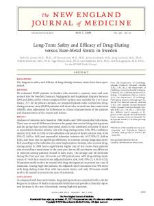 Abstract. Background The long-term safety and efficacy of drug-eluting coronary stents have been questioned